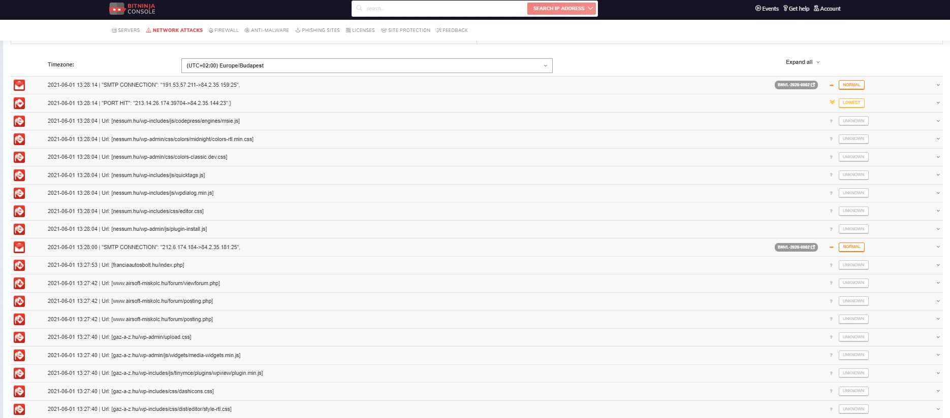 Bitninja HoneyPot Network Attack